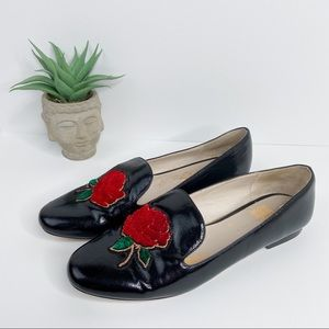 Zara Black Loafers with Rose Embroidery Sz 9